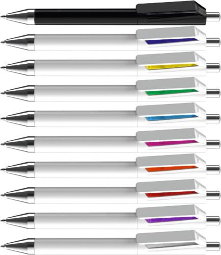 Fusion vit reklampenna med färgade detaljer