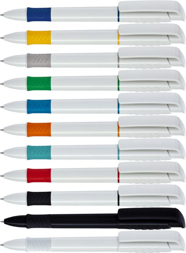 Vita pennor med färgade grepp